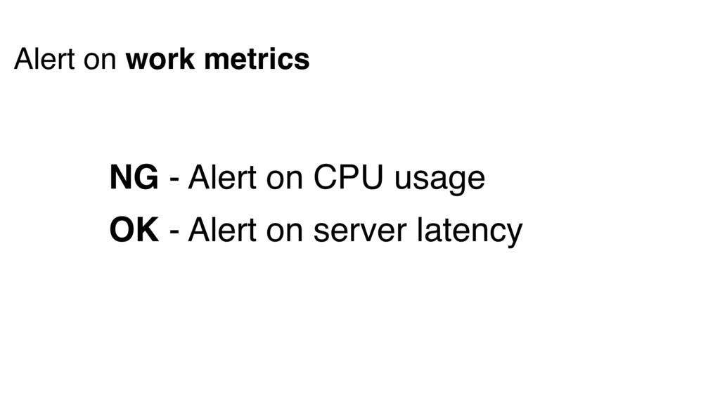 NG - Alert on CPU usage OK - Alert on server la...