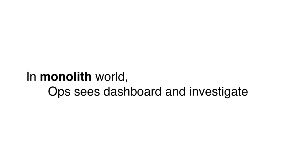 In monolith world, Ops sees dashboard and inves...