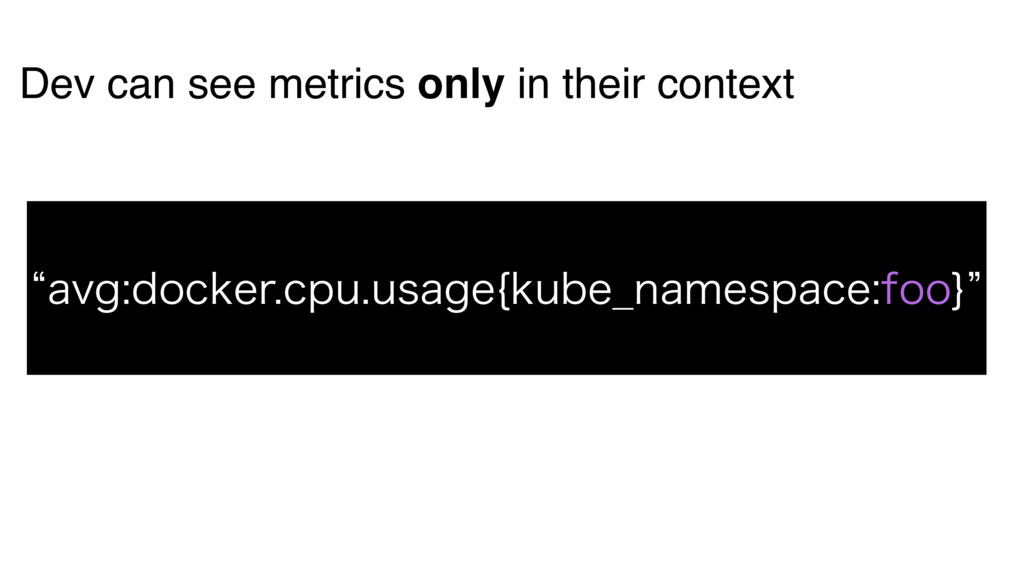 Dev can see metrics only in their context lBWH...