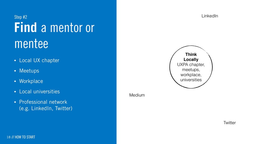 18 Find a mentor or mentee • Local UX chapter •...