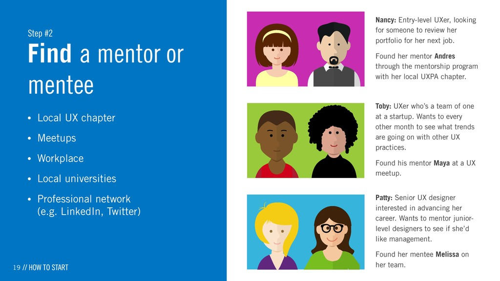 19 Find a mentor or mentee • Local UX chapter •...