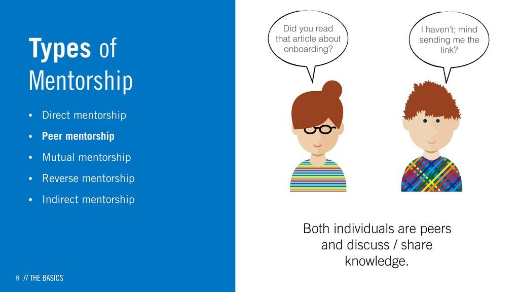 8 Types of Mentorship • Direct mentorship • Pee...