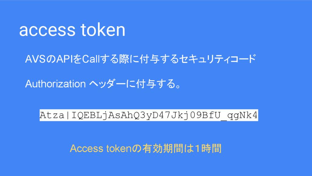 access token AVSのAPIをCallする際に付与するセキュリティコード Auth...