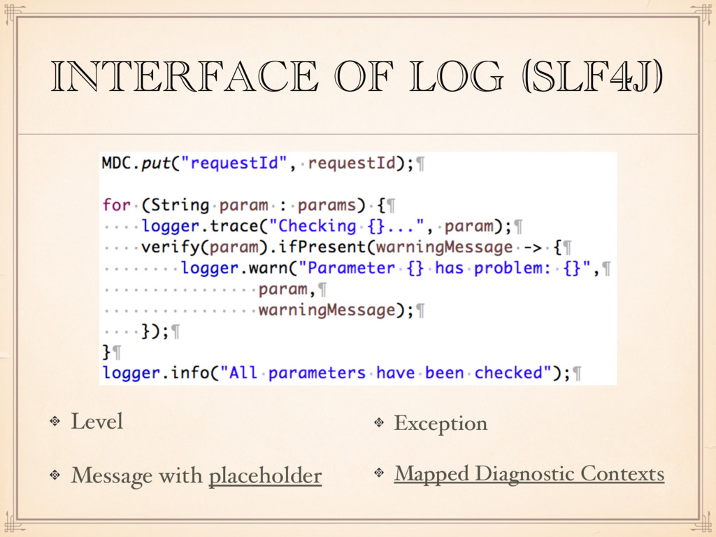 INTERFACE OF LOG (SLF4J) Level Message with pla...