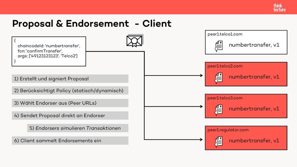 Proposal & Endorsement - Client { chaincodeId: ...