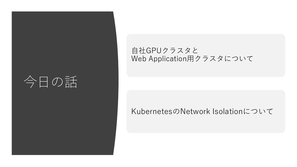 今⽇の話 ⾃社GPUクラスタと Web Application⽤クラスタについて Kubern...