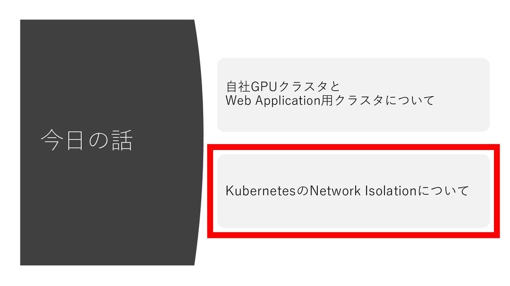 今⽇の話 KubernetesのNetwork Isolationについて ⾃社GPUクラスタ...