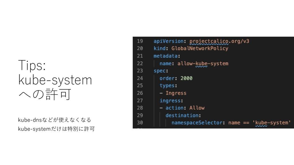 Tips: kube-system への許可 kube-dnsなどが使えなくなる kube-s...