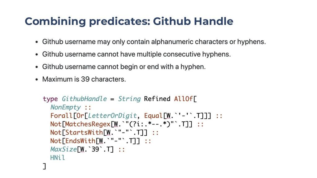 Combining predicates: Github Handle