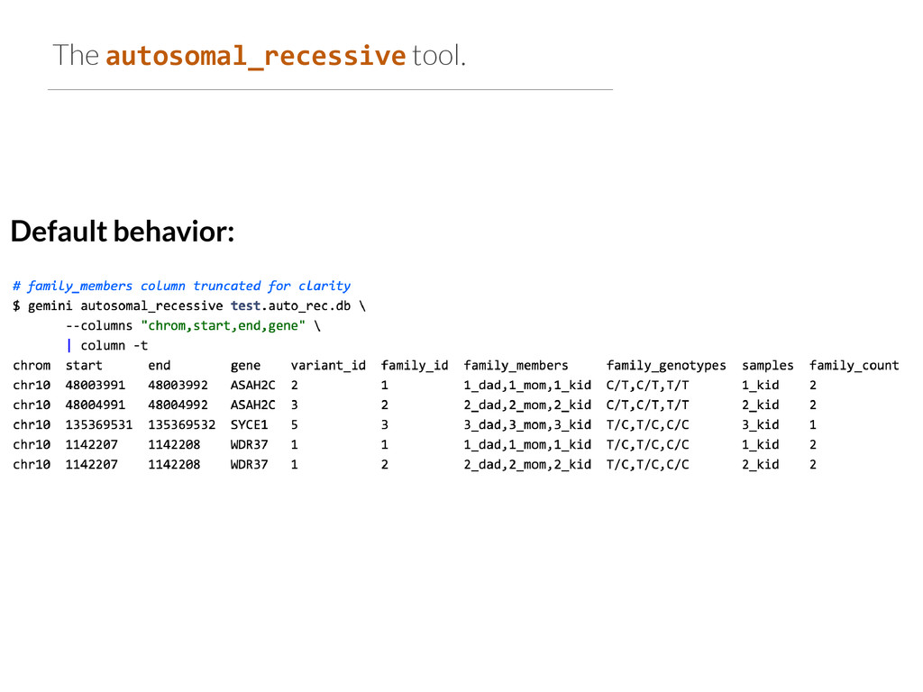 The autosomal_recessive tool. Default behavior: