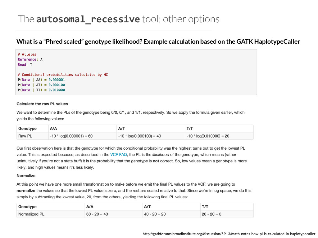 The autosomal_recessive tool: other options Wha...