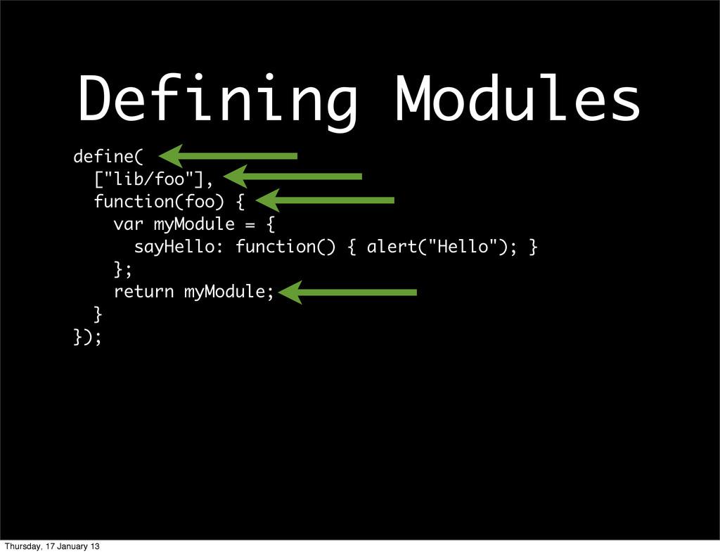 """Defining Modules define( [""""lib/foo""""], function(..."""