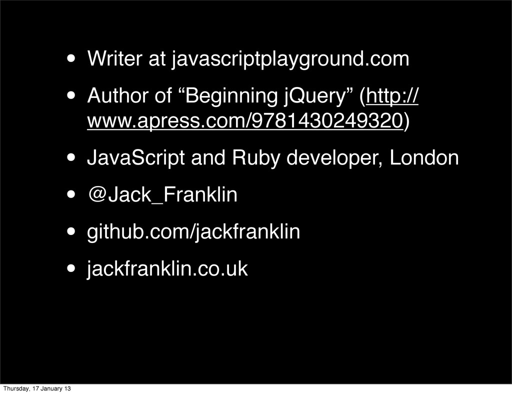 • Writer at javascriptplayground.com • Author o...