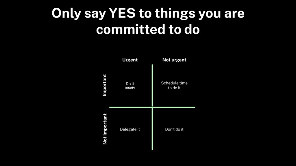 Only say YES to things you are committed to do ...