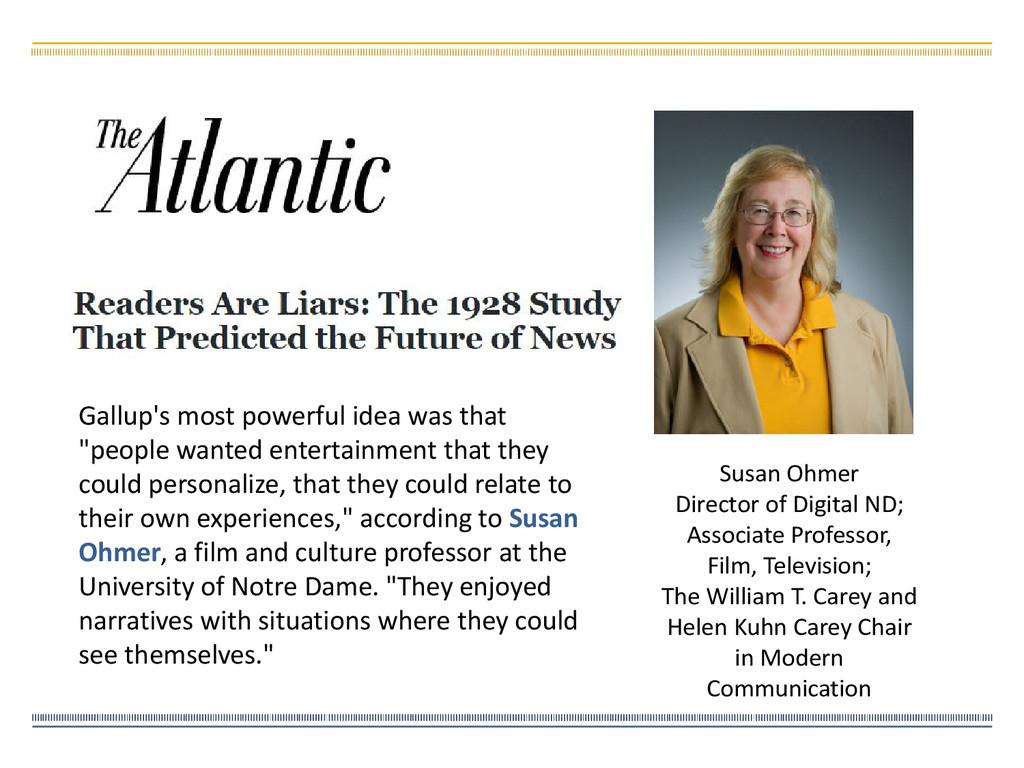 Susan Ohmer Director of Digital ND; Associate P...