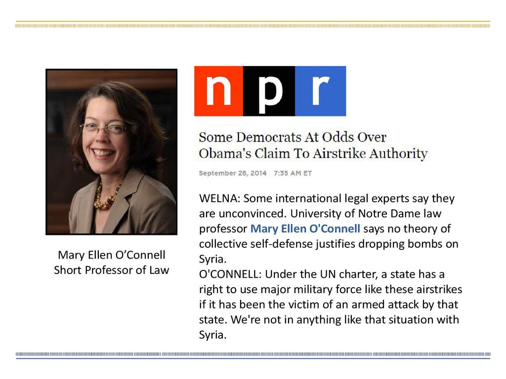 Mary Ellen O'Connell Short Professor of Law WEL...