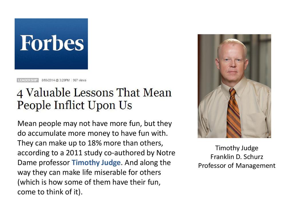 Timothy Judge Franklin D. Schurz Professor of M...