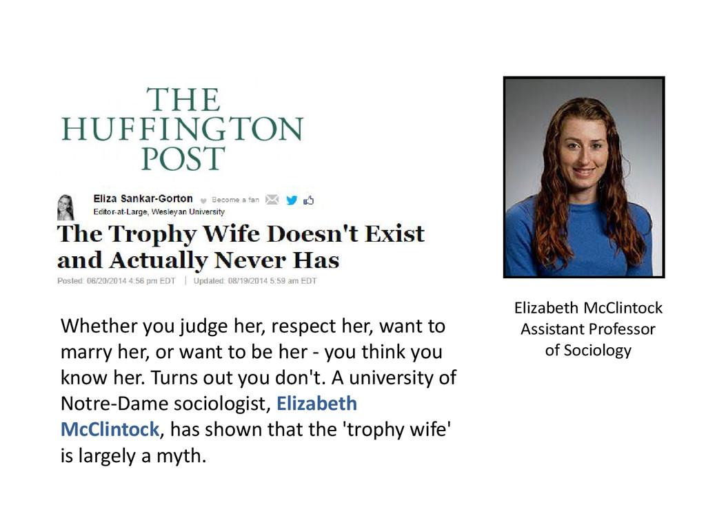 Elizabeth McClintock Assistant Professor of Soc...