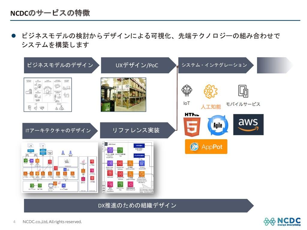 NCDCのサービスの特徴 l ビジネスモデルの検討からデザインによる可視化、先端テクノロジーの...