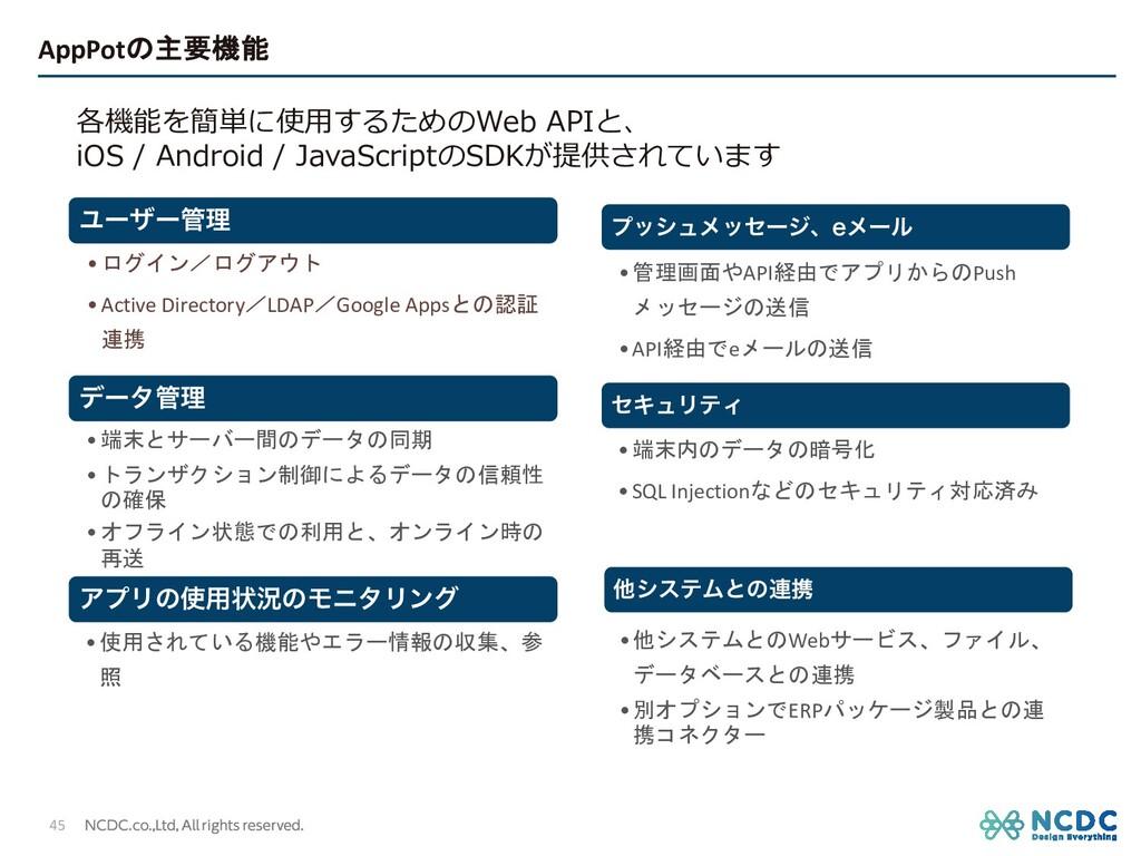 AppPotの主要機能 45 Ϣʔβʔཧ •ログイン/ログアウト •Active Direc...