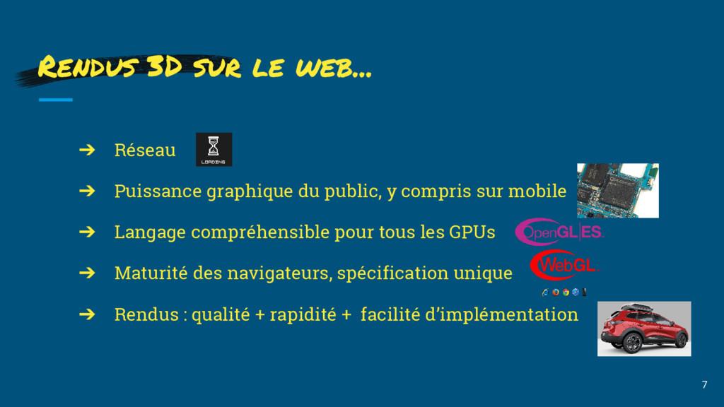 Rendus 3D sur le web... 7 ➔ Réseau ➔ Puissance ...
