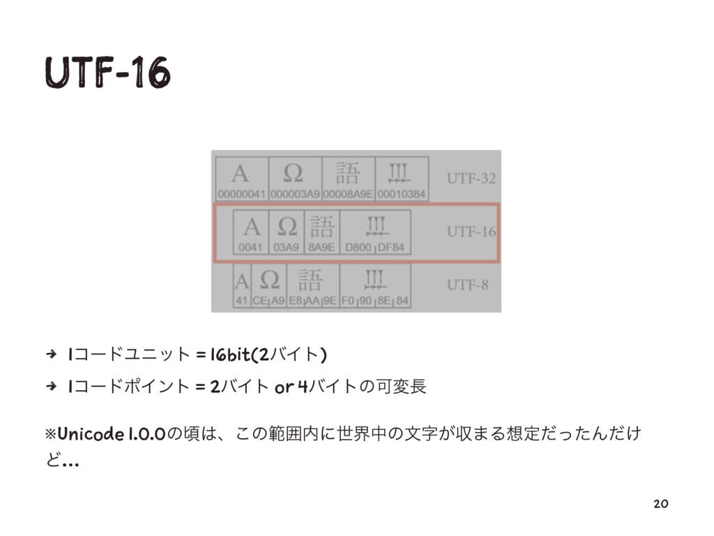 UTF-16 4 1ίʔυϢχοτ = 16bit(2όΠτ) 4 1ίʔυϙΠϯτ = 2ό...