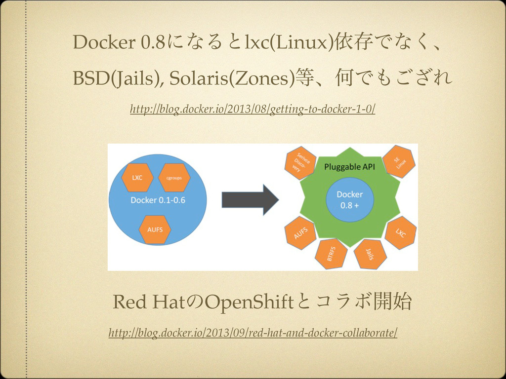 Docker 0.8ʹͳΔͱlxc(Linux)ґଘͰͳ͘ɺ BSD(Jails), Sola...