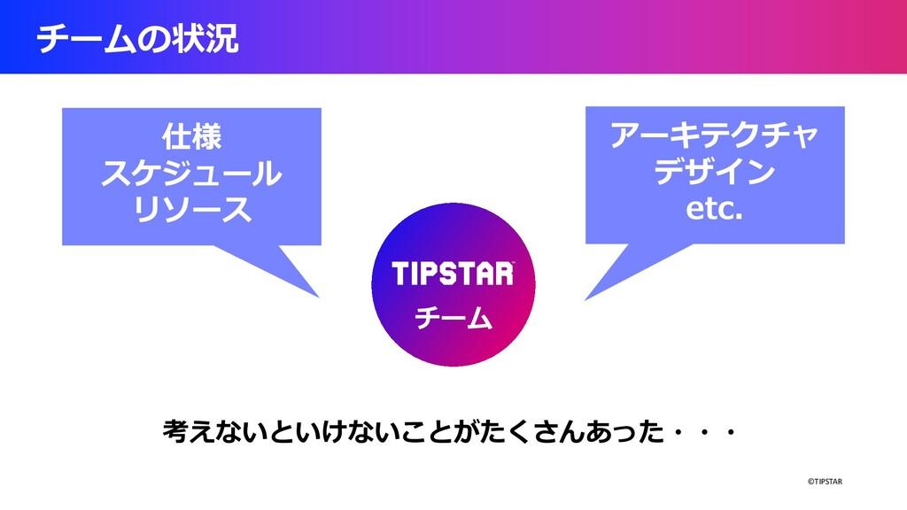 ©TIPSTAR チームの状況 チーム アーキテクチャ デザイン etc. 仕様 スケジュール...