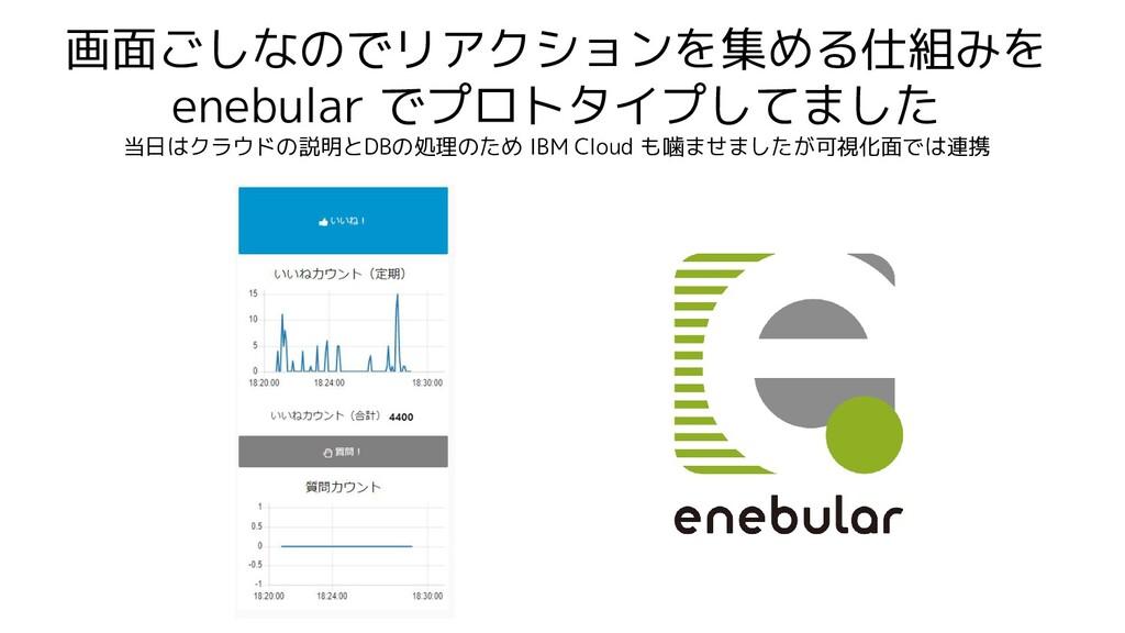 画面ごしなのでリアクションを集める仕組みを enebular でプロトタイプしてました 当日は...
