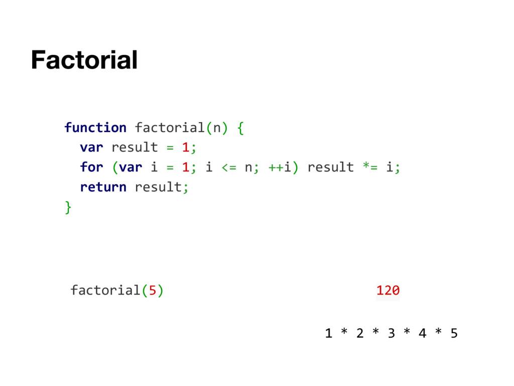 function factorial(n) { var result = 1; for (va...