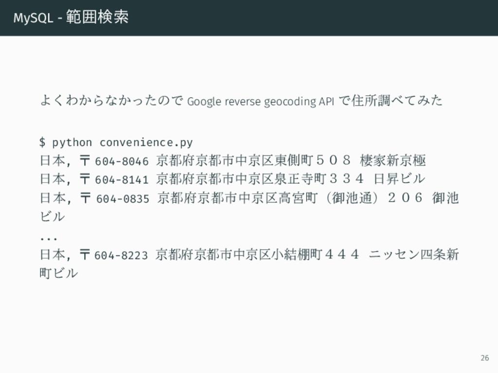 MySQL - 範囲検索 よくわからなかったので Google reverse geocodi...
