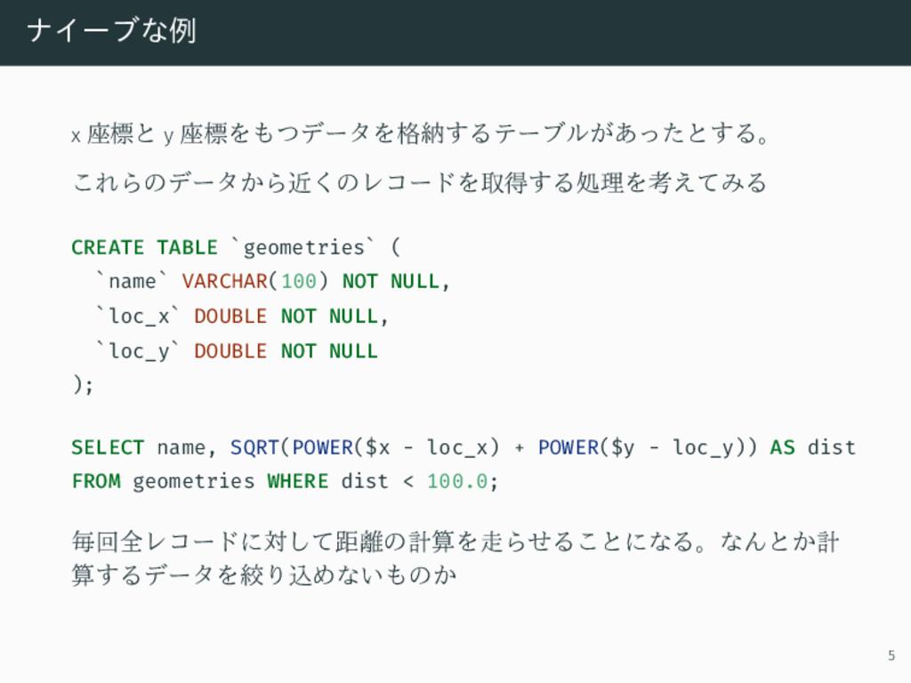 ナイーブな例 x 座標と y 座標をもつデータを格納するテーブルがあったとする。 これらのデー...