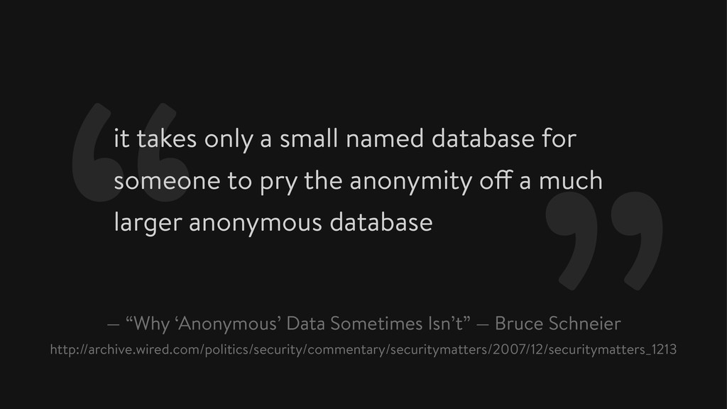 it takes only a small named database for someon...