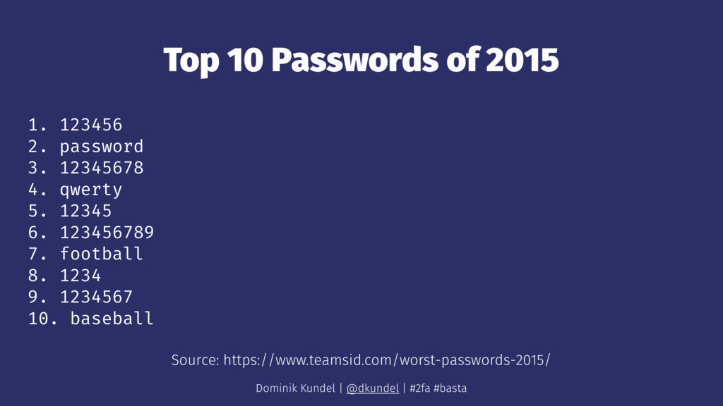 Top 10 Passwords of 2015 1. 123456 2. password ...