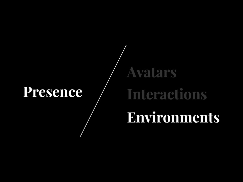 Avatars Interactions Environments Presence