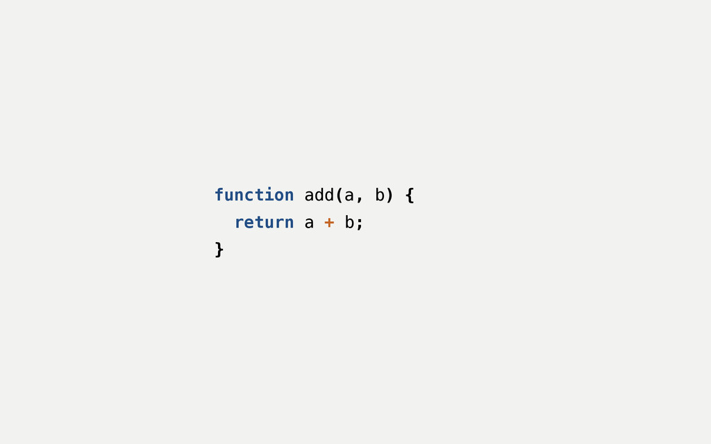 function add(a, b) { return a + b; }