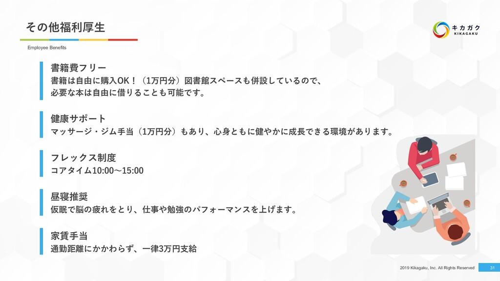 2019 Kikagaku, Inc. All Rights Reserved その他福利厚⽣...