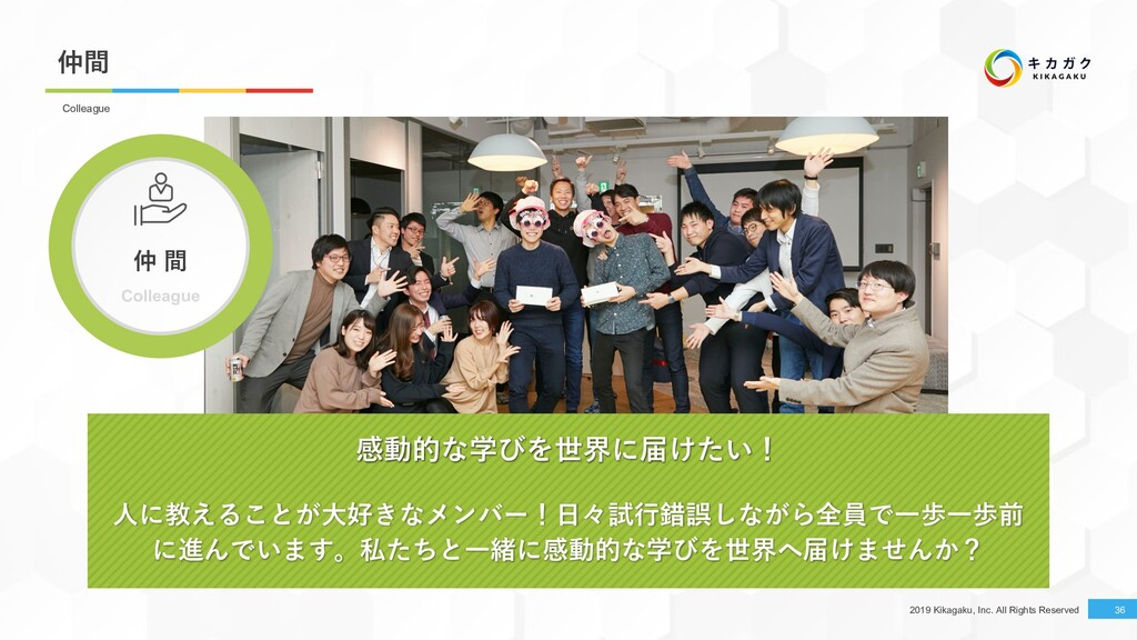 2019 Kikagaku, Inc. All Rights Reserved 仲間 36 C...