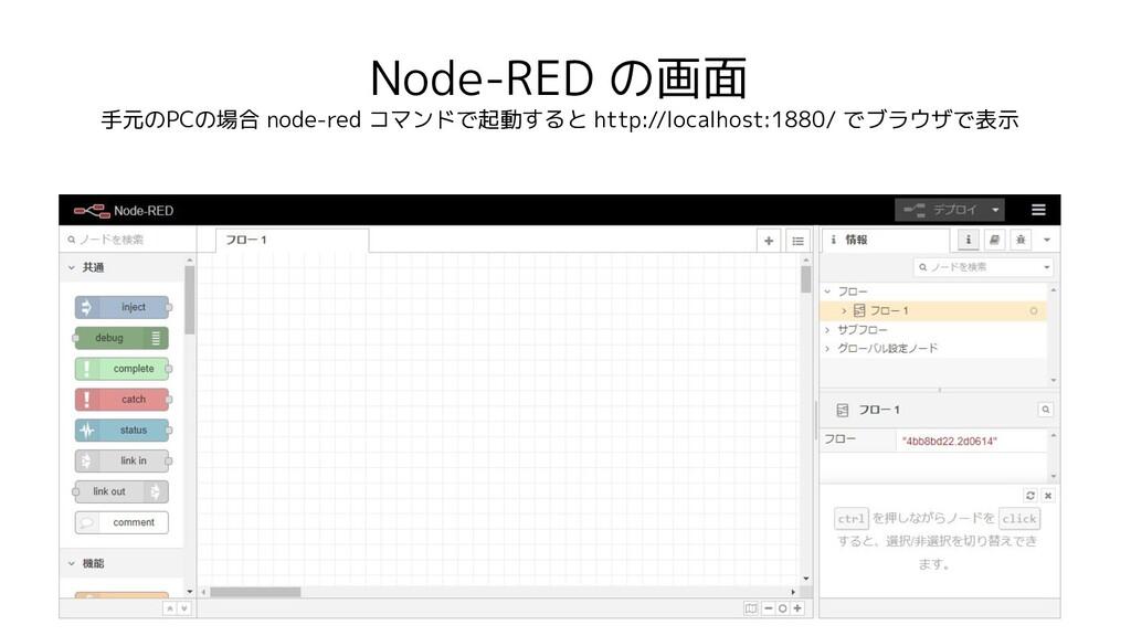 Node-RED の画面 手元のPCの場合 node-red コマンドで起動すると http:...