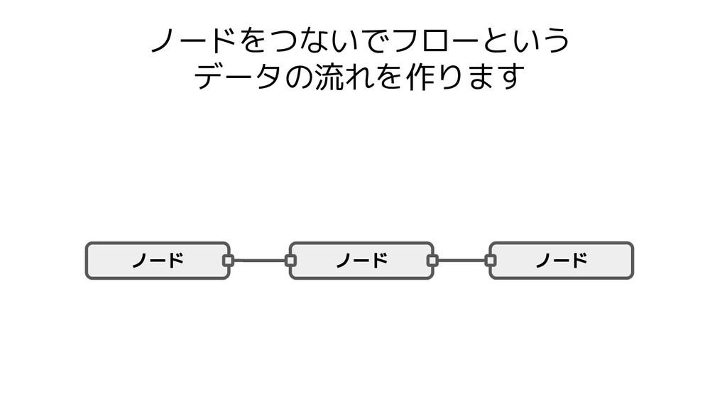ノードをつないでフローという データの流れを作ります ノード ノード ノード