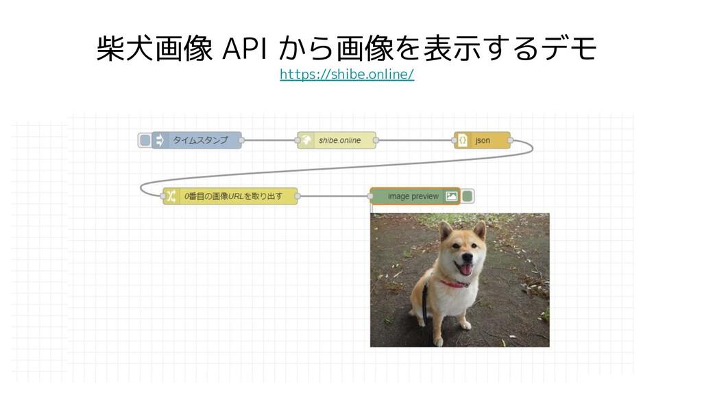 柴犬画像 API から画像を表示するデモ https://shibe.online/