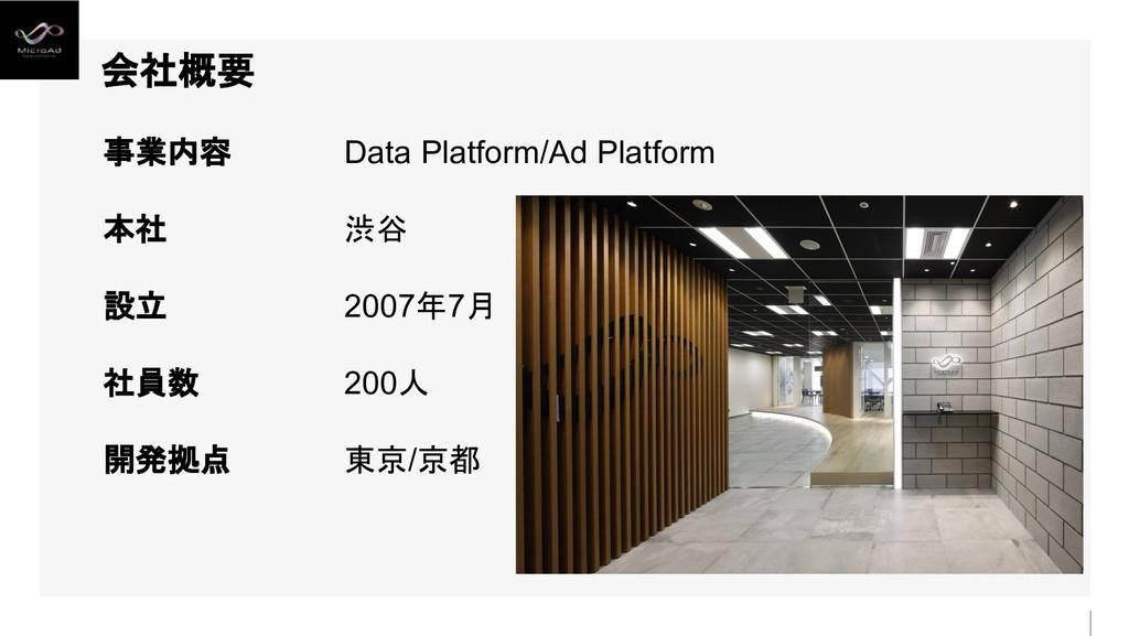 会社概要 事業内容 本社 設立 社員数 開発拠点 Data Platform/Ad Platf...