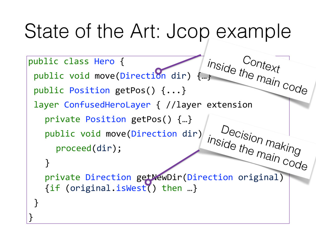 State of the Art: Jcop example public class...