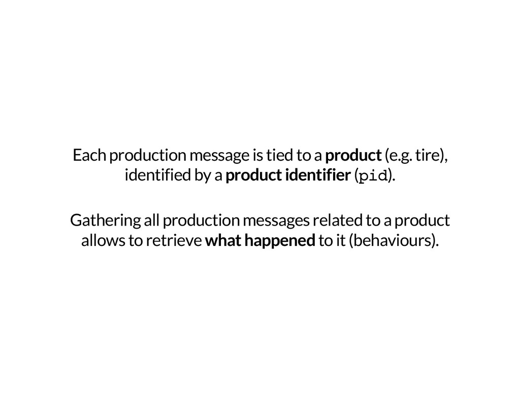 Each production message is tied to a product (e...