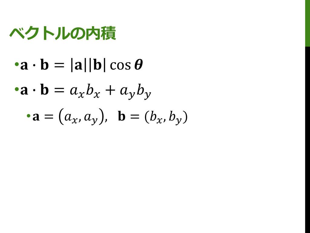 ベクトルの内積 • ∙  =   cos  • ∙  =   +   • =  ,  ,  =...