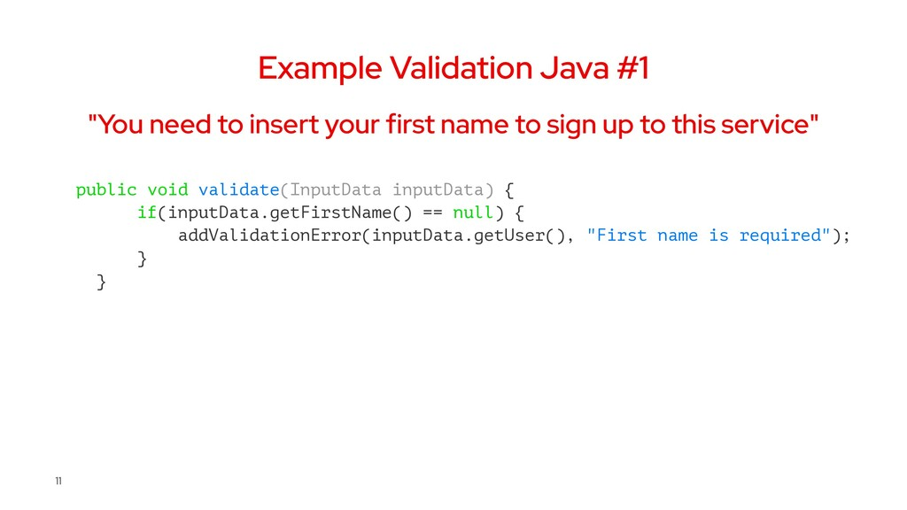 """Example Validation Java #1 """"You need to insert ..."""