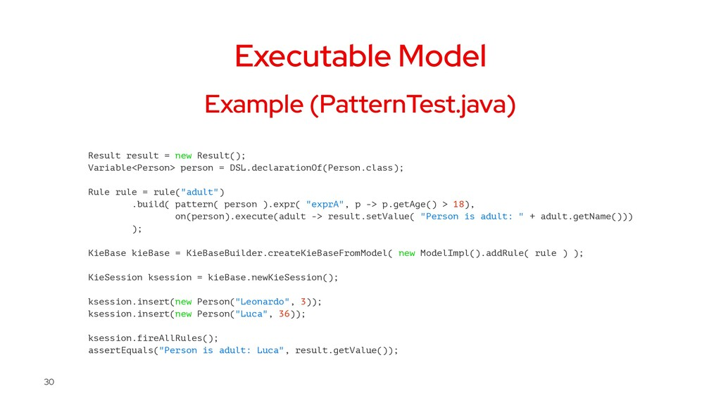 Executable Model Example (PatternTest.java) Res...