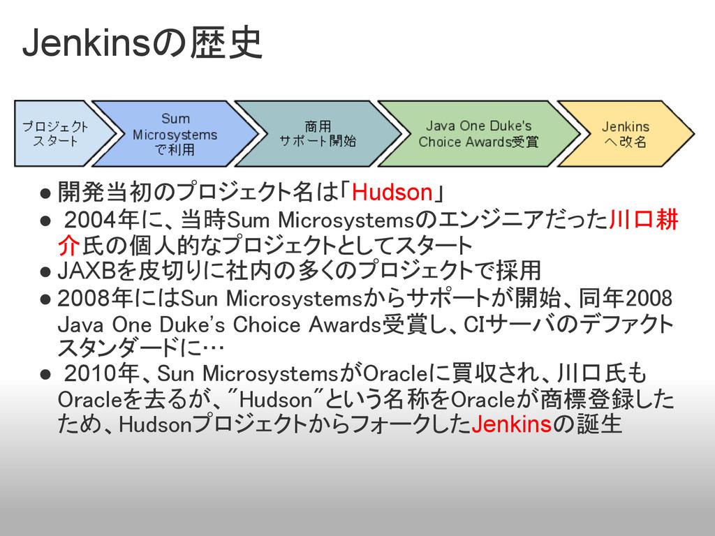 Jenkinsの歴史 ● 開発当初のプロジェクト名は「Hudson」 ● 2004年に、当時S...