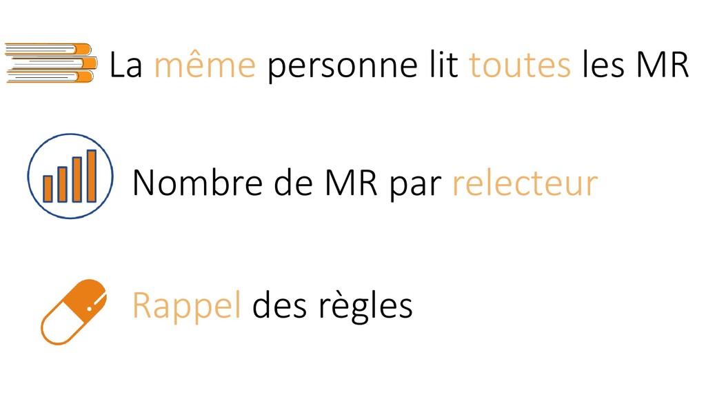 La même personne lit toutes les MR Rappel des r...