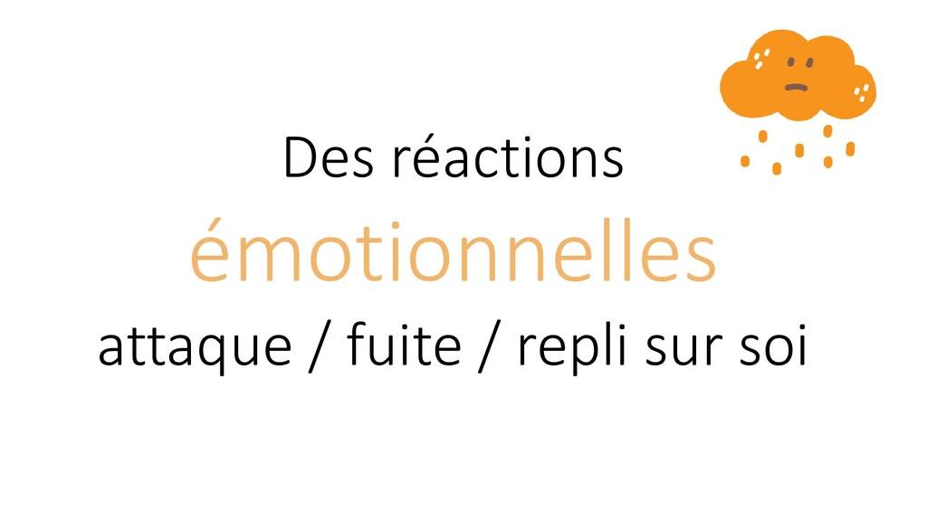 Des réactions émotionnelles attaque / fuite / r...